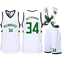 HDJX Milwaukee Bucks de Jersey, 34 Giannis Antetokounmpo, Personalizada City Versión, Jersey Formación Competición, Traje de Baloncesto de Niños White-2XS