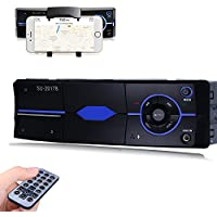 Favoto 1 Din 4x60W 12V Estéreo de Coche de Audio Reproductor MP3 Control Central con Bluetooth USB SD AUX FM Radio con Control Remoto Llamadas Manos Libres para Automóvil Universal Negro