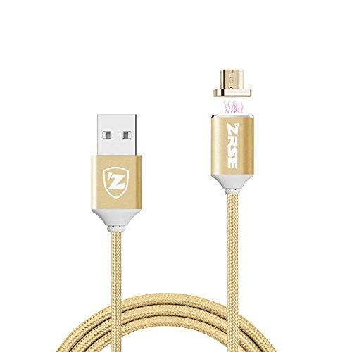 Cavo USB Zrse di 4° generazione, intrecciato, magnetico, lungo 2m, per Samsung Galaxy S2, S3, S4, S6, Note 2/3/4/5, LG G4/G3, Sony Xperia Z5Premium/Compact ecc.