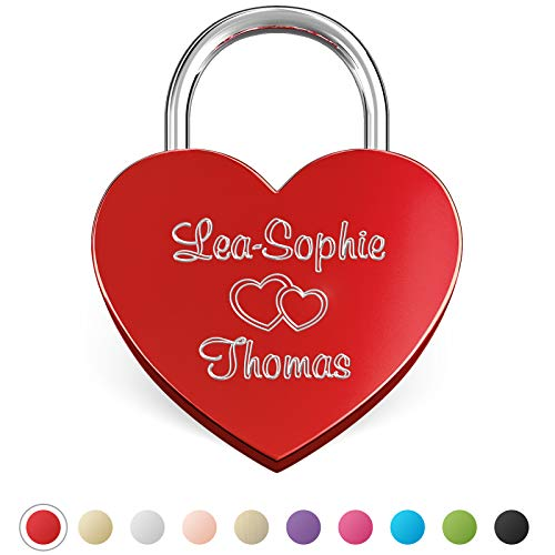 LIEBESSCHLOSS-FACTORY Candado de amor Rojo grabado en forma de corazó