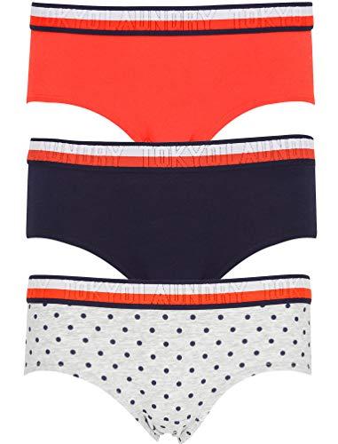 Tokyo Laundry Damen Unterwäsche, 3er-Pack, Bedruckt, Kurze Slips, Stretch-Fit, Unterwäsche Gr. XS, Ferne - Baumwolle Stretch Kurze Bikini
