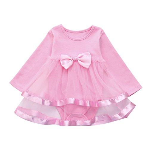 �dchen Kleid, janly® Toddler Infant Geburtstag Tutu Schleife Kleidung Party Jumpsuit Prinzessin Strampler Kleider, rose (4 Monat Alte Halloween-kostüm Ideen)
