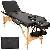 TecTake Table de massage 3 zones pliante cosmetique lit de massage portable + housse de transport - diverses couleurs au choix - (Noir | No. 401466)...