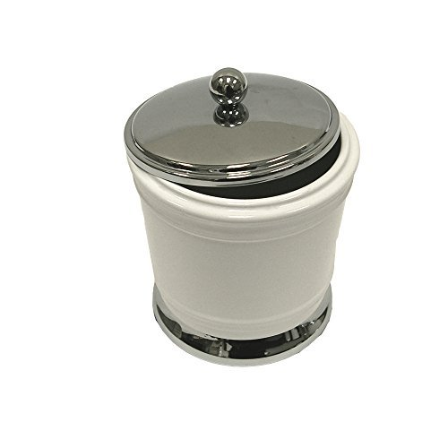 Ex-Cell Hayden Covered Jar, White/Chrome by excell Covered Jar