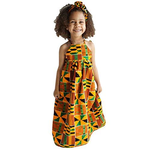 LEXUPE Kleinkind-Baby-afrikanischer Druck Weg vom Schulter-Haarband-Prinzessin Casual Dress(Mehrfarbig,120)