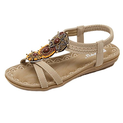 Große Größe Sandalen Damen, DoraMe Frauen Mode Bohe Strandschuhe Perlen Flache Schuhe Ethnischen Stil Gladiator Sommer Neue Pantoletten (36, Braun) (Flache Perlen Sandalen)