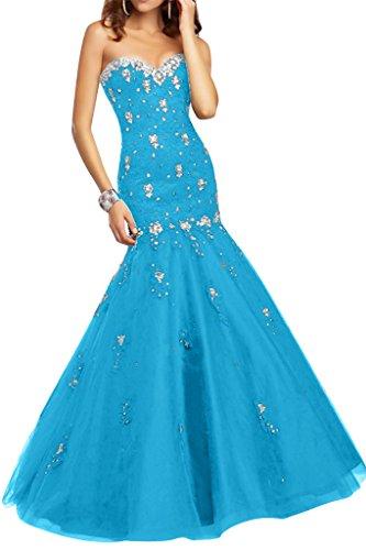 Ivydressing Damen Sexy Mermaid Herz-Ausschnitt Steine Spitze&Tuell Promkleid Festkleid Abendkleid Blau