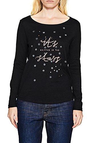 ESPRIT Damen Langarmshirt 117EE1K025, Mehrfarbig (Black 001), Small