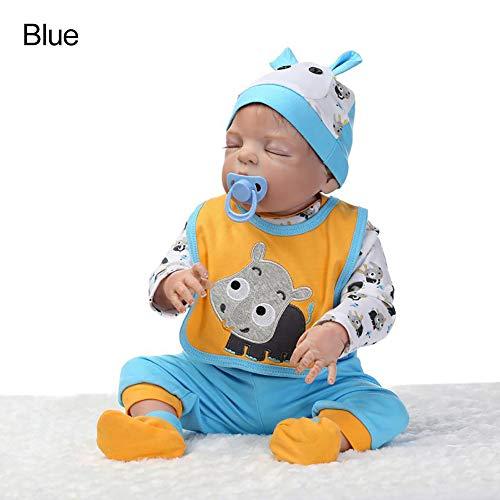 CAheadY 56cm lebensechte Neugeborene Baby - Puppe - Mädchen - Jungen - Vinylsilikon - Pretend Play Reborn Toy Blue (Lebensechte Baby-puppen Für Erwachsene)