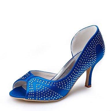 Wuyulunbi @ Zapatos Mujer Seda Primavera Verano Bomba Base Zapatos Boda Tacón De Aguja Peep Toe Rhinestone Para El Banquete De Boda Y Noche Azul Azul