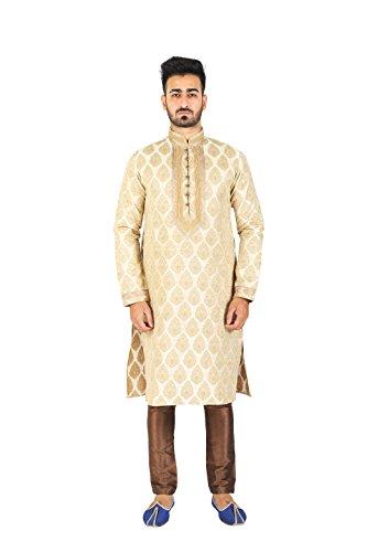 Thaath Men's Jacquard Ethnic Kurta & Churidar Set