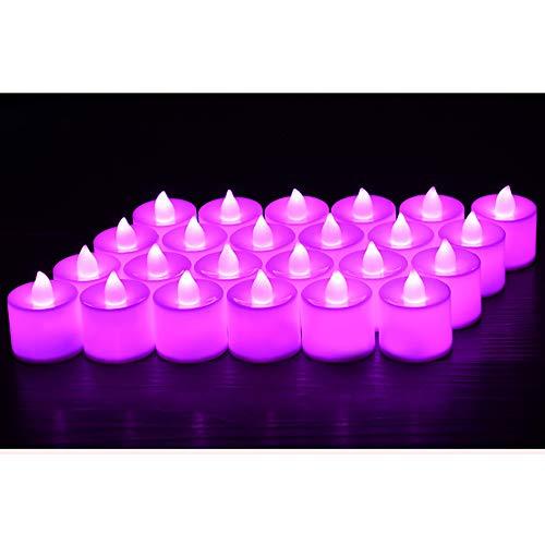 Prevently LED Kerzen flammenlose Kerze, Die Echt Blinkende LED-Flamme Buntes Romantisches Elektronisches Licht Der Kerzen-LED für Weihnachtsfest verzieren (Lila)