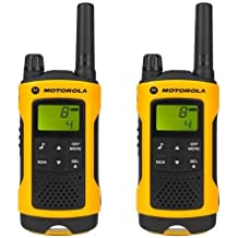 Motorola TLKR T80 Extreme - Walkie-Talkie (pantalla LCD, alcance hasta 10 km), color amarillo y negro
