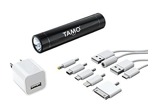 Batterie bâton 2600 MOTA   Paquet - Batterie portable universelle avec lampe de poche   avec des adaptateurs et chargeur mural - Noir