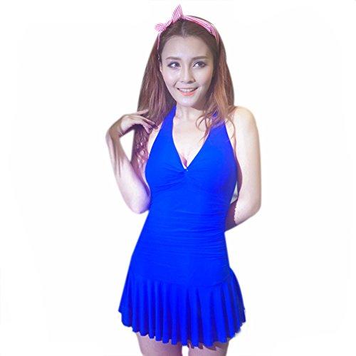 Demarkt Damen V Design Badekleid Einteiler Schwimmanzug Schwimmkleid Swimdress Trägerkleid Dunkel Blau