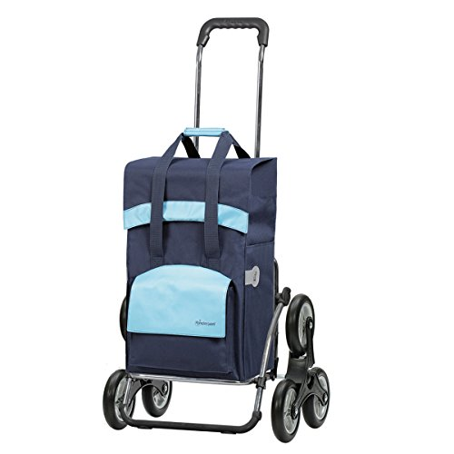 Andersen Einkaufstrolley Royal als Treppensteiger und Einkaufstasche Holly Schwarz/Blau 49 Liter Einkaufswagen Stahlgestell klappbar