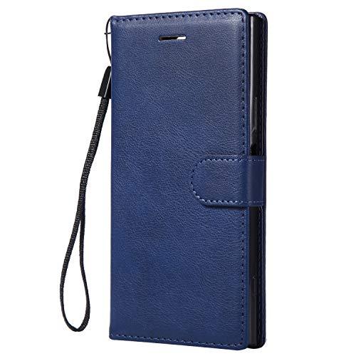 NEXCURIO Sony Xperia XZ1 Hülle Leder, Handyhülle Tasche Leder Flip Case Brieftasche Etui mit Kartenfach Stoßfest Kratzfest Schutzhülle für Sony Xperia XZ1 - NEKTU13550 Blau