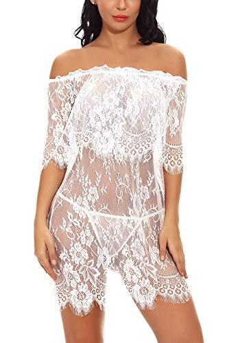 FEOYA Damen Sexy Negligee Nachtwäsche Nachthemd Spitze Lingerie Nachtkleid Babydoll Dessous Reizwäsche Sleepwear Kleid mit String Weiß S