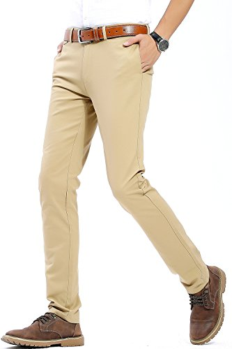INFLATION Herren Casual Hose Chino Stretch Stoffhose Chinohose Regular Fit MH102 Khaki 33 (Baumwoll-stretch Khaki)