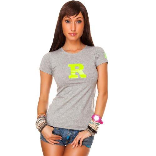 24brands Damen T-Shirt mit Aufdruck Glitzer Motiv Pailletten Kurzarm (2018) Grün (Neon)