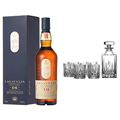 Bundle: Lagavulin 16 Year Old Whisky 70cl and Royal Doulton Crystal Decanter Seasons Set of 7