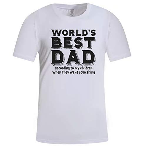 BHYDRY Herren Sommer Casual Print Kurzarm T-Shirt Geschenk für die weltbesten DAD Tops(Medium,Weiß -