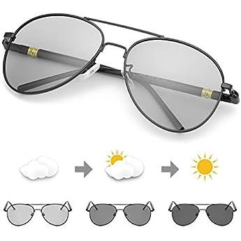TJUTR Fotocromatici Occhiali Da Sole Polarizzati Uomo, Aviatore Metallo Cornice per Guida Protezione 100% UVA UVB (Nero/Grigio)