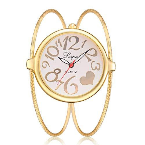 Uhren für Frauen, Winkey Damen-Casual Quarz Armband Uhren Analog Armbanduhr gold