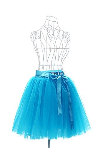 MisShow Damen Rockabilly Tüll Petticoat Reifrock Unterrock Petticoat Underskirt für Rockabilly Kleid One Size 50CM-Läng Blau