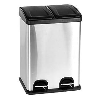 HAC24 Edelstahl Doppel Mülleimer 40l Küche | Duo Abfalleimer Trennsystem | Treteimer Mülltrenner | Mülltonne Abfallsammler Abfallbehälter