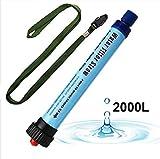 Depuratore d'acqua personale, 2000L portatile filtro depuratore d'acqua di purificazione dell'acqua di paglia, sport all'aria aperta zaino e pronto soccorso. Rimuovere batteri e protozoi (3 colori), Blue