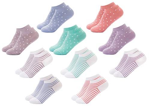 FOOTNOTE I 10 Paar I Sneaker Socken Ohne Gummi Ohne Naht Damen Herren Unisex Bunt Pastell Gepunktet Gestreift in 35 36 37 38