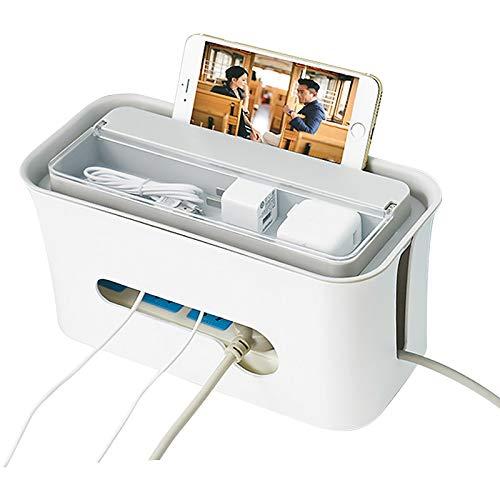 ckdosenleisten-Abdeckung/Kabel-Organizer-Box/Kabel-Aufbewahrungsbox mit Smartphone-Halterung für Adapter, USB-Hubs, Überspannungsschutz, TV/Computer-Kabel ()