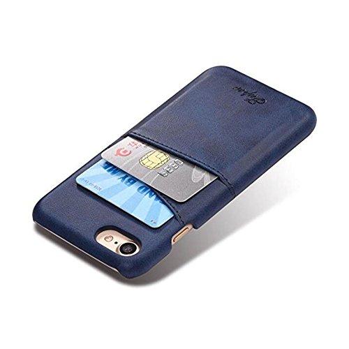 Xiaopangzi Magnetische PU-Leder-Handyhülle mit ID-Kartenhalter und Halterung für iPhone 6 / 6s 6P 7 7P (for iPhone 6/6s, Red) Blue