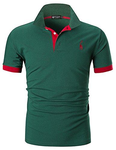 STTLZMC Polo para Hombre de Manga Corta Casual Moda Algodón Camisas Cuello en Contraste Golf Tennis,Verde,XL