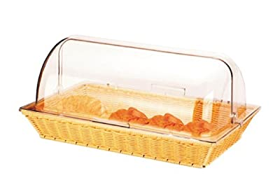 Commercial Bread Display Basket with Roll Top Hygiene Cover ideal for Breakfast Bars, Coffee Bars, Cafes and Market Stalls. Dishwasher Safe. produced by Sunnex - quick delivery from UK.