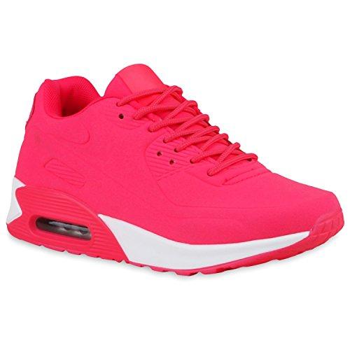 Herren Damen Sportschuhe Laufschuhe Runners Sneakers Prints Neonpink Velours