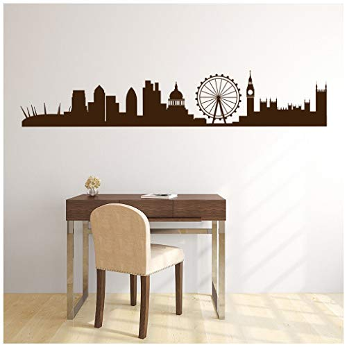 Price comparison product image azutura London City Skyline Wall Sticker UK Cityscape Wall Decal Office Bedroom Decor available in 5 Sizes and 25 Colours X-Large Basalt Grey