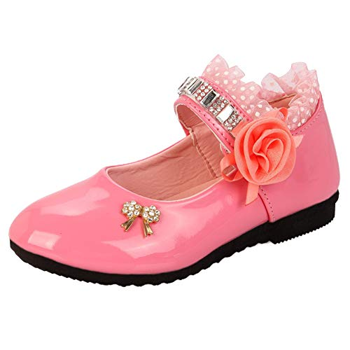 WE-WIN Mädchen Pricess Schuhe Casual Single Leder Perlen Party Kleid Flache Schuhe Low Heels Wanderschuhe Shool Schuhe