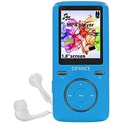 Difrnce MP1805 - Reproductor MP3 (Reproductor de MP4, 8 GB, TFT, USB 2.0, Azul, Auriculares incluidos)