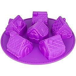 Silicona forma Invierno Pueblo, 6diferentes Casas, Navidad, Advent, molde para tartas pequeñas, Idea de Regalo, color: lila