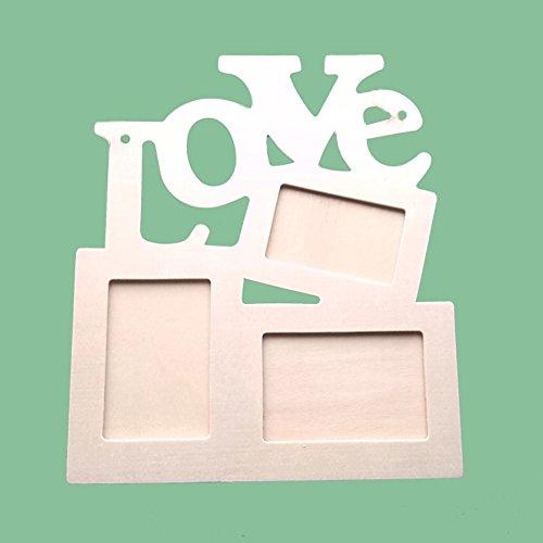 Cadre photo Multi-Vues Romantique LOVE en Bois pêle-mêle mural forme Cœur 17.2 * 19.2cm