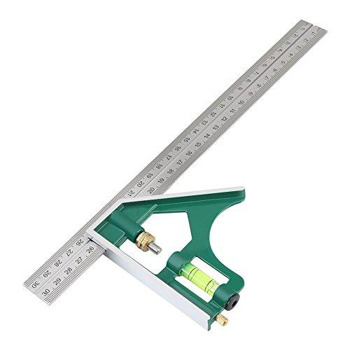 Akozon Kombinations Machthaber Multifunktionale 300mm Kombination Quadrat Winkel Herrscher 45/90 Grad mit Wasserwaage