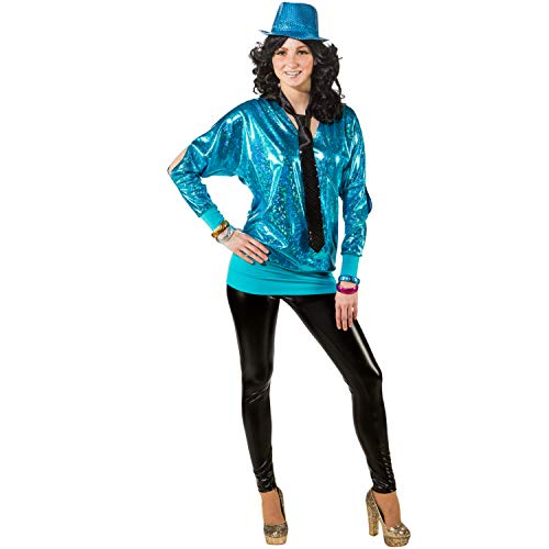 Unbekannt Damen Kostüm 90er Wickelshirt Retro 80er Mottoparty Fasching Karneval (38/40, türkis)