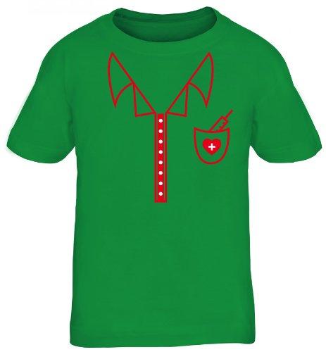 ing - Krankenschwester Kostüm, Karneval Kids Kinder Fun T-Shirt , Größe: 110/116,kelly green (Kid Krankenschwester Kostüme)