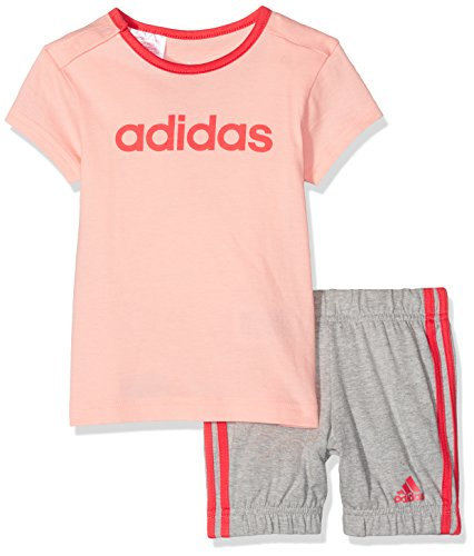 adidas I Su Easy G Set Set T-Shirt Con Kurze Hose für Junge, Mehrfarbig (Corneb/Rosbas), 80