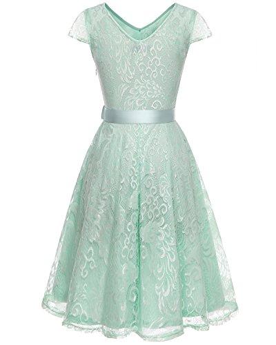 Bridesmay Elegant Damenkleid Spitzenkleid Cap Sleeves Brautjungfernkleid Ballkleid Abendkleid Mint