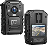 1296P HD Police Body Camera,128G Memory,CammPro Premium Portable Body Camera,Waterproof Body-Worn Camera with