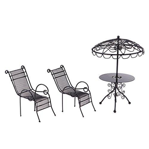 Baoblaze 3 Stück 1:12 Puppenhaus Mini Garten Tisch Stühle Modell aus Metall Puppenmöbel im Freien...