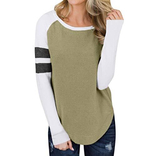 Subfamily® Frauen Casual Herbst Patchwork Langen Ärmel Sweatshirt Bluse T Shirt Sweater O Ausschnitt Lässig Bluse Fashion Oberteile Sweatshirt Langarmshirt